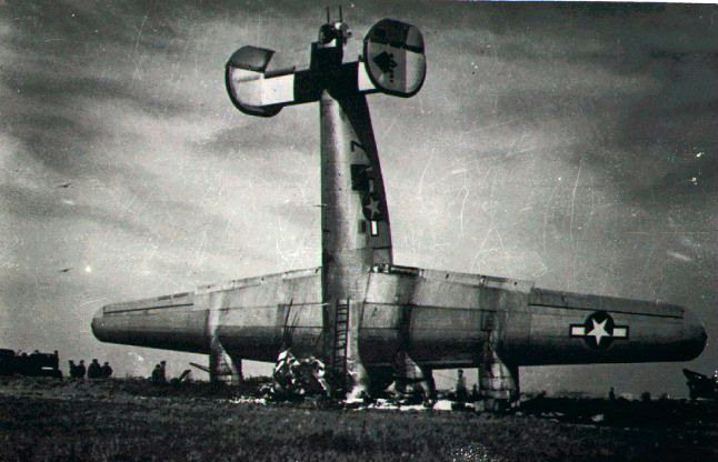 B-24 wrecked & standing on its nose